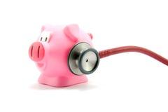De griep van het varken met stethoscoop stock foto