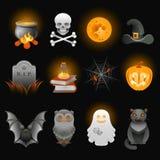De griezelige geplaatste pictogrammen van Halloween Royalty-vrije Stock Foto's