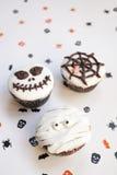 De griezelige muffin van Halloween cupcakes Stock Foto