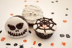 De griezelige muffin van Halloween cupcakes Royalty-vrije Stock Foto's