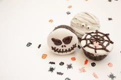 De griezelige muffin van Halloween cupcakes Royalty-vrije Stock Afbeeldingen