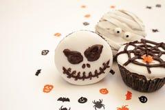 De griezelige muffin van Halloween cupcakes Stock Foto's