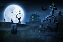De griezelige nacht van Halloween Stock Afbeelding