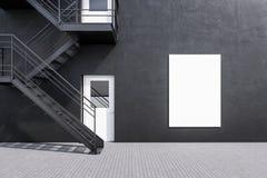 De grijze bouw met brandtrapladder affiche vector illustratie
