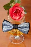 De grijze en zwarte vlinderdas op een glas cognac met rood nam toe Stock Afbeelding