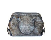 De grijze handtas van de krokodilkunstleer voor vrouw op wit Stock Fotografie
