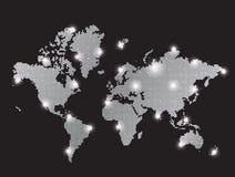 De grijze kaart van de pixelwereld Stock Foto's