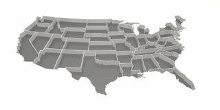 De grijze Omgekeerde Kaart van Verenigde Staten Royalty-vrije Stock Foto