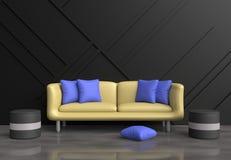 De grijze woonkamer is verfraaide gele bank, blauwe hoofdkussens, grijze stoel, zwarte houten muur Stock Foto's