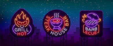 De grill is een reeks neon-stijl emblemen Vectorillustratie op het thema van voedsel, vlees van hetzelfde Inzameling van neonteke vector illustratie
