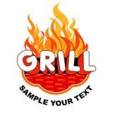 De grill van de sticker met vlammen Stock Foto's