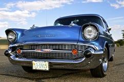 De grill van een klassieke 1957 Chevy bij auto toont Royalty-vrije Stock Foto