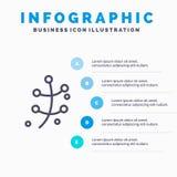 De groei, Blad, Installatie, het pictogram van de de Lentelijn met infographicsachtergrond van de 5 stappenpresentatie royalty-vrije illustratie