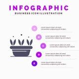 De groei, Blad, Installatie, de Lente Stevig Pictogram Infographics 5 de Achtergrond van de Stappenpresentatie vector illustratie
