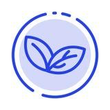De groei, Blad, Installatie, springt het Blauwe Pictogram van de Gestippelde Lijnlijn op vector illustratie