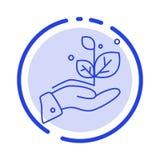 De groei, groeit, overhandigt, de Lijnpictogram van de Succes Blauw Gestippelde Lijn royalty-vrije illustratie