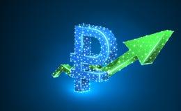 De groei groene pijl, het Russische teken van de Roebelmunt, digitale neon 3d illustratie Veelhoekig Vector bedrijfssucces, gegev vector illustratie