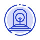 De groei, Installatie, Zaken, Boom, het Nieuwe Blauwe Pictogram van de Gestippelde Lijnlijn royalty-vrije illustratie