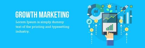 De groei marketing voor het e-businessverbetering De vector Banner van het Web Royalty-vrije Stock Foto's