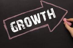 De groei - Pijl met tekst en vrouwelijke hand stock afbeelding