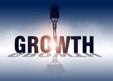 De groei De pijl van de zakenmanholding en status op de groei Vector royalty-vrije illustratie