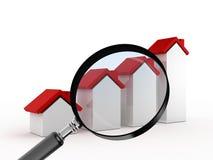De groei in Real Estate met Vergrootglas Royalty-vrije Stock Afbeeldingen