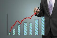 De groei rode pijl en grafiek van de zakenmantekening Royalty-vrije Stock Afbeeldingen