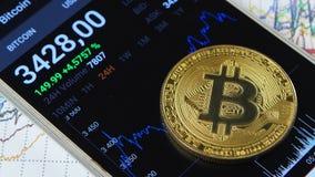 De groei van de kosten van bitcoin, als crypto van het land ` s munt stock video