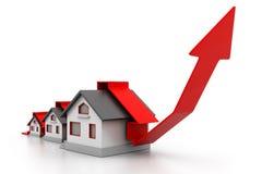 De groeiende grafiek van de huisverkoop Stock Foto's