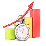 De groeigrafiek en chronometer Stock Foto's