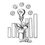 De groeigrafiek en idee gloeilamp met bloem Stock Foto