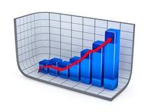 De groeigrafiek en rode pijl Royalty-vrije Stock Afbeelding