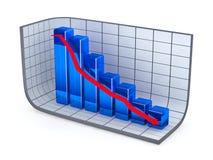 De groeigrafiek en rode pijl Stock Afbeelding