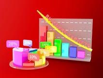 De groeigrafiek met cirkeldiagram Royalty-vrije Stock Foto