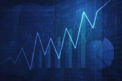 De groeigrafiek met financiële grafiek en grafiek, succeszaken Stock Foto