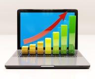 De groeigrafiek op laptop computer Stock Afbeelding
