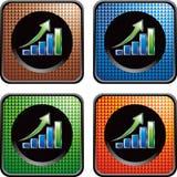 De groeigrafiek van de opbrengst op geruite Webknopen Royalty-vrije Stock Afbeeldingen