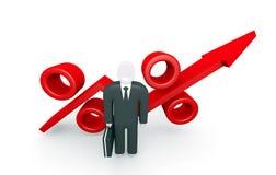 De groeiparameters en abstract cijfer van zakenman Stock Foto's