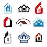 De groeitendens van de onroerende goederenindustrie - eenvoudige huispictogrammen Samenvatting Stock Afbeeldingen