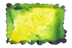 De groen-gele achtergrond van de waterverfvlek Stock Afbeelding