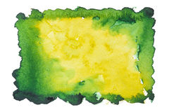 De groen-gele achtergrond van de waterverfvlek Stock Foto