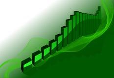 De groene 3D Grafiek van het Vakje Stock Afbeelding