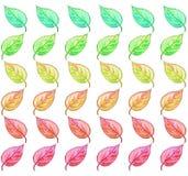 De groene aan rode illustratie van het bladpatroon Stock Illustratie