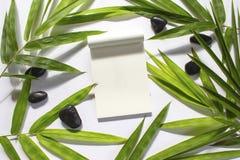 De groene achtergrond van het Bamboeblad Wit het notitieboekjemodel van de sketchbookpagina Stock Foto's
