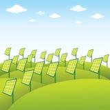 De groene achtergrond van het energiebronzonnepaneel Stock Foto