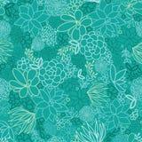 De groene achtergrond van het succulents naadloze patroon Stock Afbeeldingen