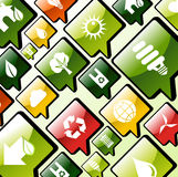 De groene achtergrond van milieu apps pictogrammen Stock Afbeelding