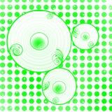 De groene achtergrond van puntencirkels Stock Fotografie