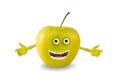 De groene appel van het beeldverhaal. Voorwerpen over wit. Stock Foto's