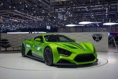 De groene auto van ZENVO ST1 bij de de motorshow van Genève Stock Foto